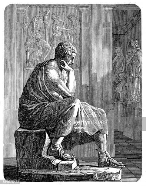 aristotle (384 bc - 322 bc), greek philosopher - aristotle stock illustrations