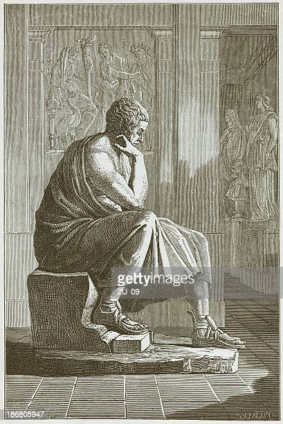 aristotle (384 bc - 322 bc), greek philosopher, published in 1882 - ancient greece stock illustrations
