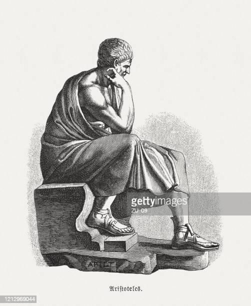 ilustrações, clipart, desenhos animados e ícones de aristóteles (384 a.c.- 322 a.c.), filósofo grego, gravura em madeira, publicado em 1893 - filósofo