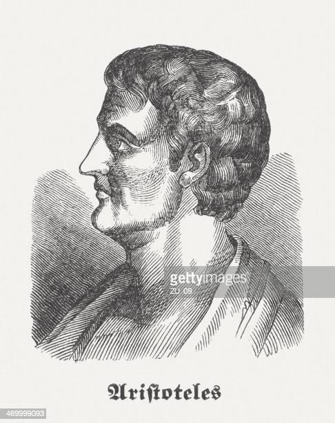 aristotle, greek philosopher, wood engraving, published in 1864 - aristotle stock illustrations