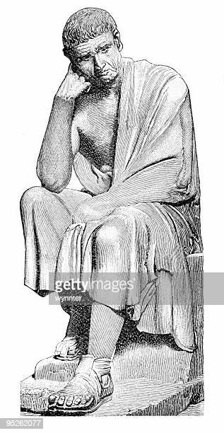 aristotle seated - ancient greece stock illustrations