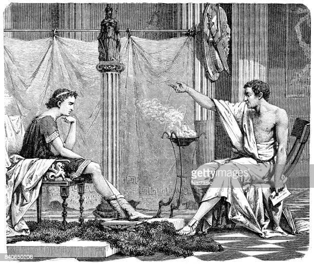 aristotle teaches alexander the great - aristotle stock illustrations