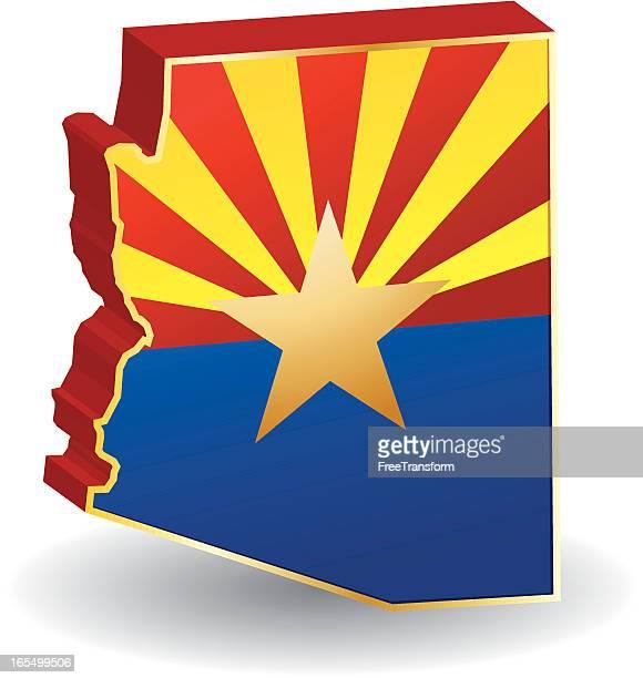 arizona flag 3d - arizona stock illustrations