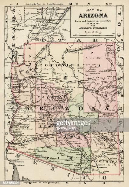 arizona map 1893 - arizona stock illustrations