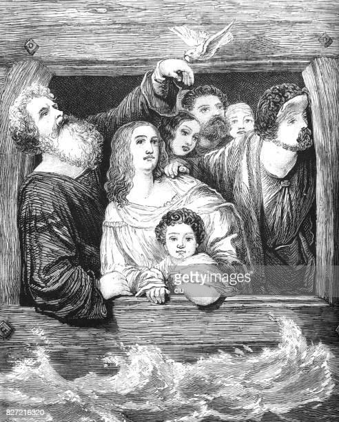 ノアの箱舟: 鳩、窓の外の人々 のリターン - ノアの方舟点のイラスト素材/クリップアート素材/マンガ素材/アイコン素材