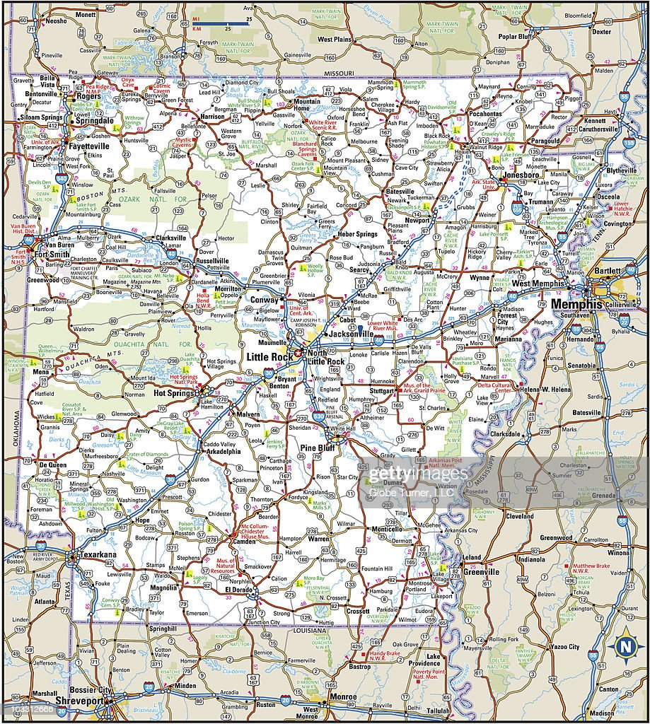 Arkansas Highway Map stock illustration - Getty Images