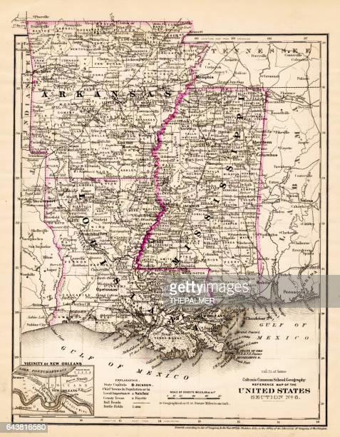 arkansas louisiana pississippi map 1881 - mississippi stock illustrations, clip art, cartoons, & icons