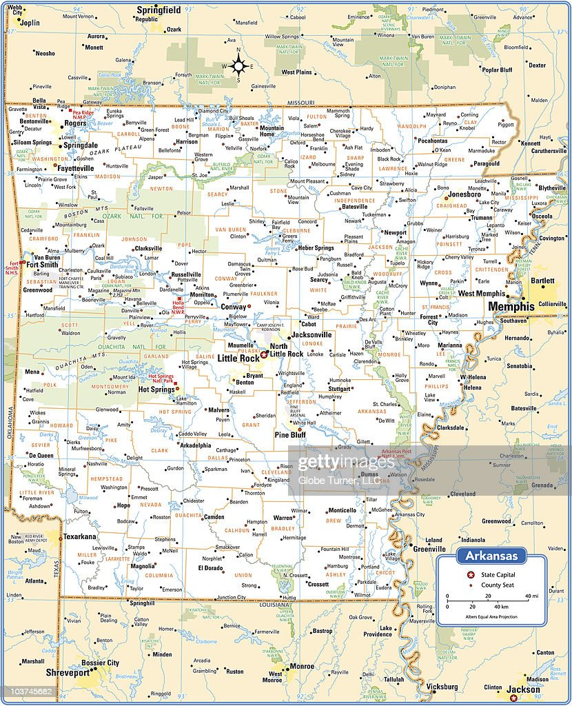 Arkansas State Map stock illustration - Getty Images
