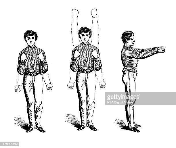 arm exercises | antique sports illustrations - gymnastics stock illustrations