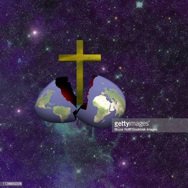 armageddon broken. golden cross hatched from earth egg. - glühend stock illustrations