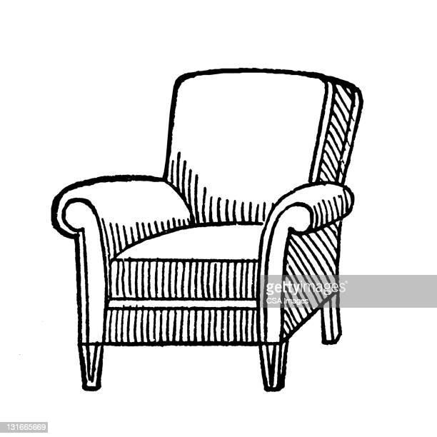 armchair - chaise stock illustrations, clip art, cartoons, & icons