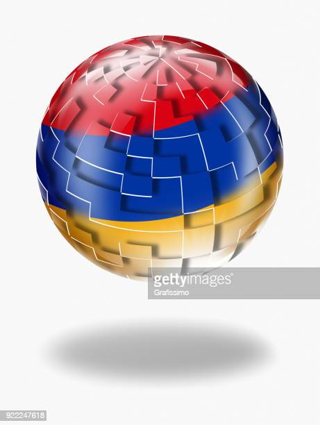 armenia sphere with armenian flag isolated on white - armenian flag stock illustrations