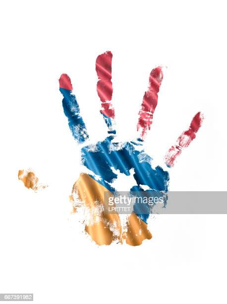 armenian hand print flag - armenian flag stock illustrations