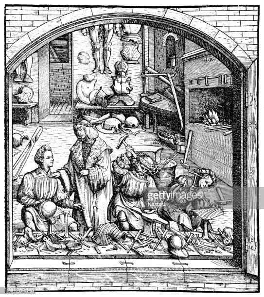 armor blacksmith 15th century - armory stock illustrations