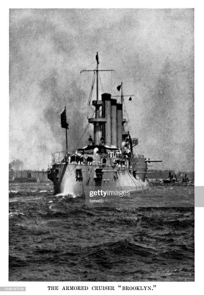 Armored Cruiser USS Brooklyn : Stock Illustration