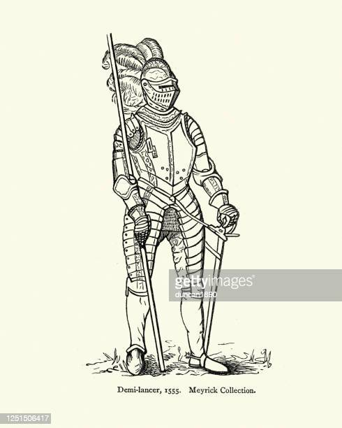 armour of demi-lancer (demilancer), heavy cavalry soldier, 17th century - military uniform stock illustrations