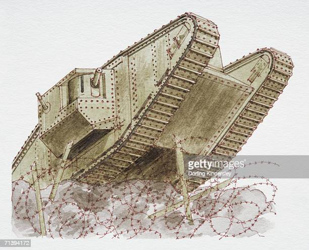 1916 armoured tank, low angle view.