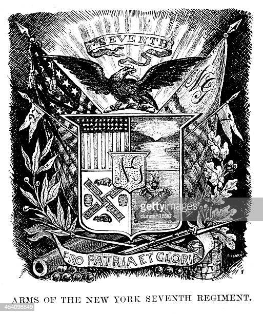 arms of the new york seveth regiment - us military emblems stock illustrations