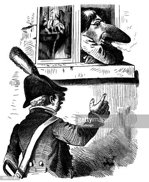 Army officer points at a man with a huge nose in the window