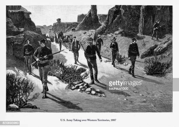 U.S. Army Taking over Western Territories Engraving, 1887