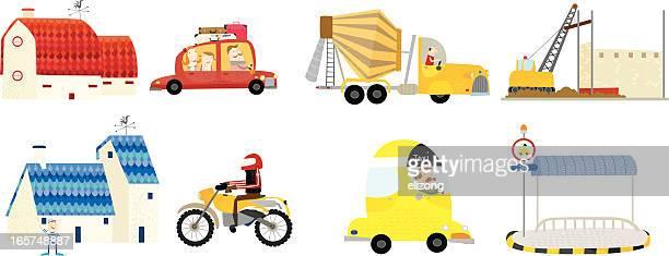 ilustraciones, imágenes clip art, dibujos animados e iconos de stock de town- alrededor de los vehículos. - taxista