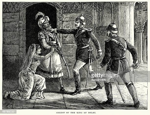 arrest of bahadur shah ii - mughal empire stock illustrations