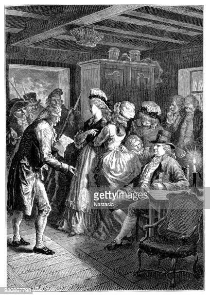 illustrations, cliparts, dessins animés et icônes de arrestation du roi louis xvi et sa famille sur 3 décembre 1791 à varennes dans le département de la meuse en lorraine champagne-ardenne, après que qu'il a été décidé que celles-ci devraient être portées à un procès pour trahison. - louis 16