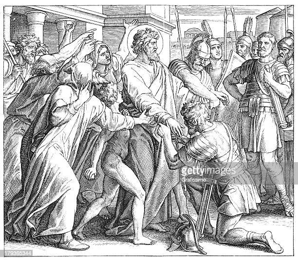 arrest of paul the apostle at jerusalem - arrest stock illustrations, clip art, cartoons, & icons