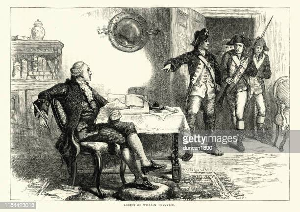 arrest of william franklin, loyalist during american revolutionary war - governor stock illustrations, clip art, cartoons, & icons