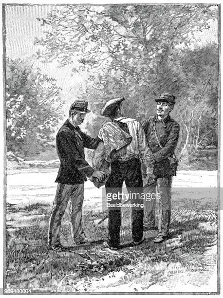 arrest smuggler in ardennes forest  in 1895 - champagne region stock illustrations, clip art, cartoons, & icons