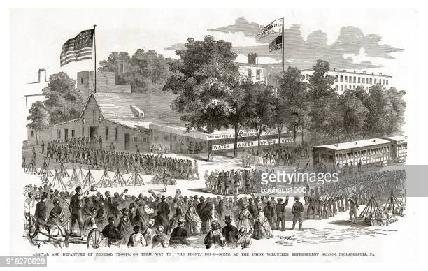 """arrival and departure of federal troops on their way to """"the front"""", 1861, philadelphia pennsylvania, civil war engraving - brigade stock illustrations"""