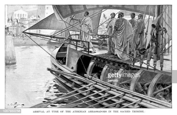 arrival at tyre of the athenian ambassadors - greek people stock illustrations, clip art, cartoons, & icons