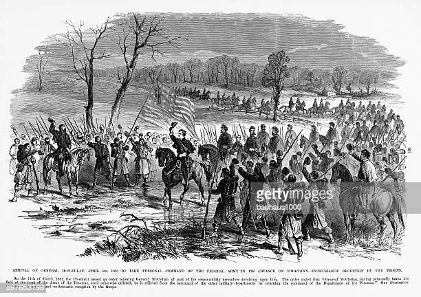 arrival of general mcclellan, yorktown, virginia, 1862 civil war engraving - infantería stock illustrations