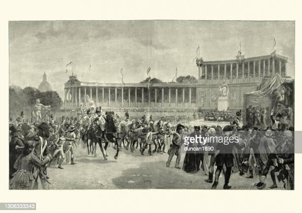 illustrations, cliparts, dessins animés et icônes de arrivée de trésors artistiques italiens sur le champ de mars à paris - guerres napoléoniennes