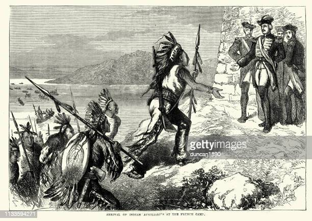 arrival of native american warriors at the french camp - french culture stock illustrations