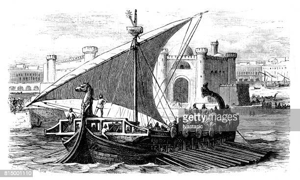 arrival of phoenician merchants in a port - ancient stock illustrations