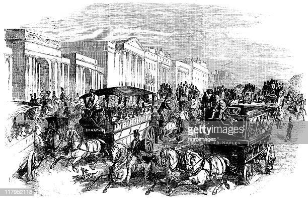 arriving for shilling day, the great exhibition (illustrated london news) - great exhibition stock illustrations, clip art, cartoons, & icons