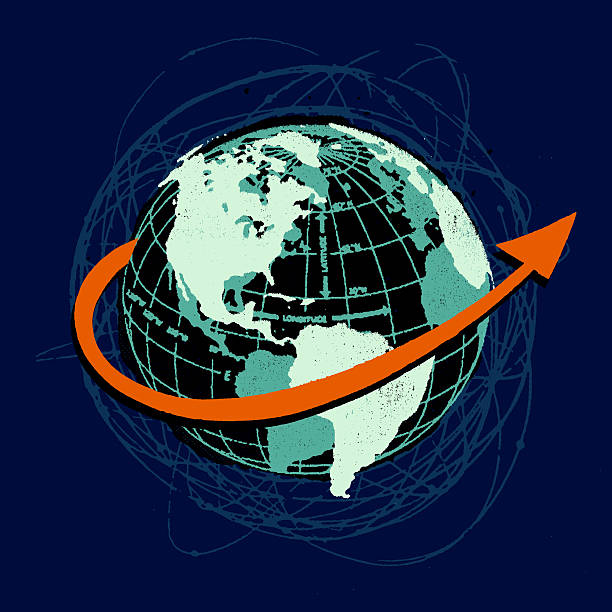 Arrow circling world globe