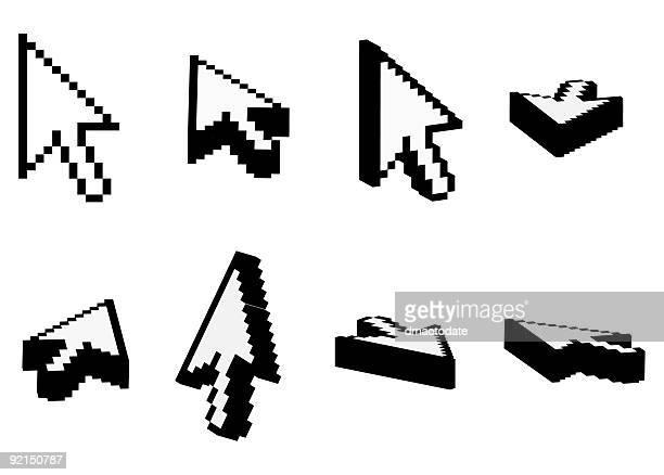 ilustrações, clipart, desenhos animados e ícones de 3 d com cursor - ponteiro do mouse
