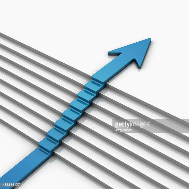arrow on stairs - growth stock illustrations