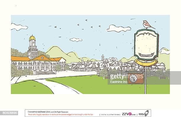 arrow sign displayed on post indicating famous place and houses in background - spire stock illustrations, clip art, cartoons, & icons