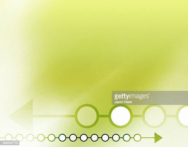 Arrows and circles on green background