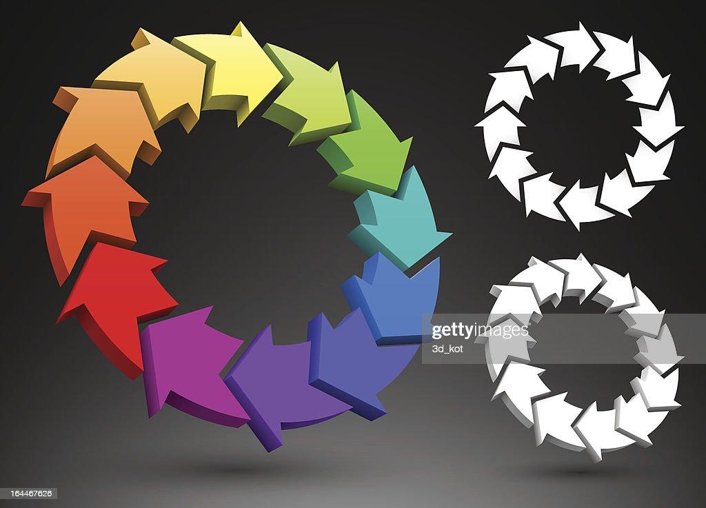 Arrows color wheel 3D