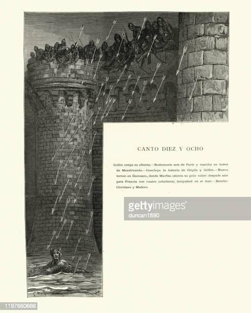 illustrations, cliparts, dessins animés et icônes de flèches pleuvant vers le bas sur le chevalier dans un fossé de château - arc élément architectural