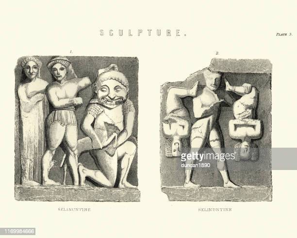 art, ancient bas relief scilptures, selinunte, ancient greek, sicily - selinunte stock illustrations