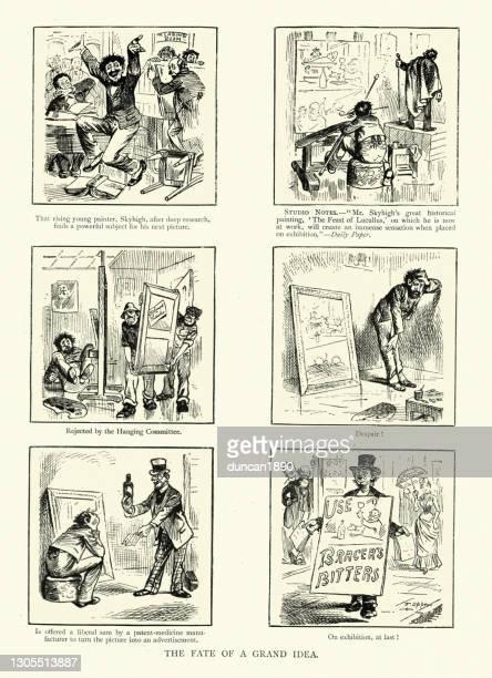art and advertising, fate of a grand idea, victorian cartoon, 19th century - slogan stock illustrations