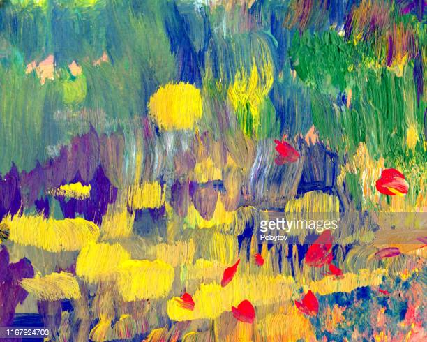 art background in autumn colors - impressionism stock illustrations