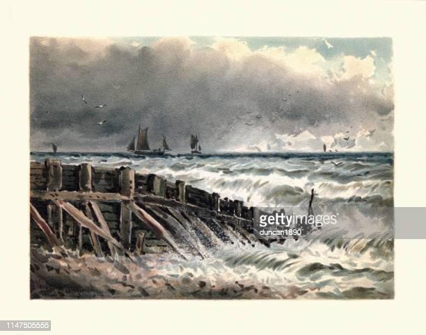 illustrations, cliparts, dessins animés et icônes de art, paysage costale, vieille aine à hastings, 19ème siècle - paysage marin