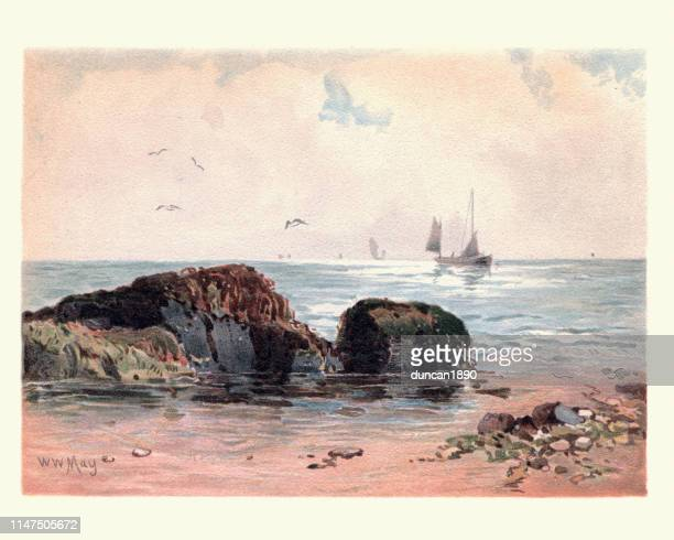 art, costal landscape, rocks at low water, 19th century - graphic print stock illustrations