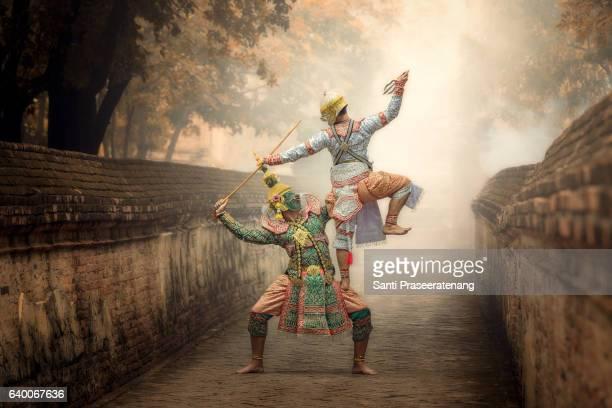 Art culture Thailand Dancing in masked khon Tos-Sa-Kan and hanuman